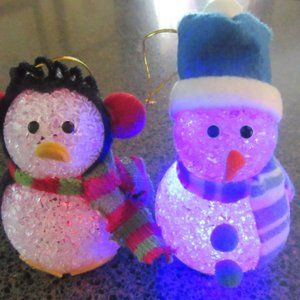 Penguin and Snowman light-up LED changing color ornaments